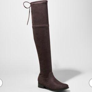 Dark grey over the knee boot